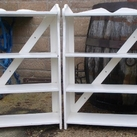Pair of painted pine shelves
